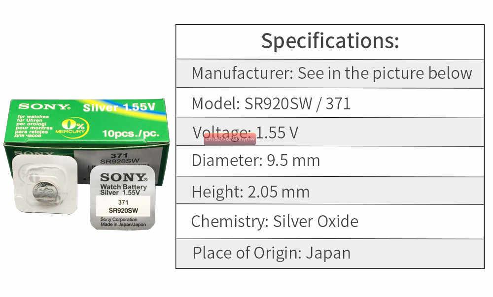 1 pc Sony 100% Original 371 SR920SW 920 1.55 V แบตเตอรี่นาฬิกา SR920SW 371 ปุ่มเหรียญ MADE IN JAPAN