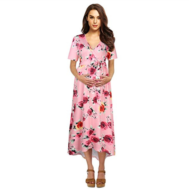 2019 New Pregnant Dress Leisure Floral Print Deep V-Neck Short Sleeve Stitching Big Swing Pregnant Women Dress Dresses2019 New Pregnant Dress Leisure Floral Print Deep V-Neck Short Sleeve Stitching Big Swing Pregnant Women Dress Dresses