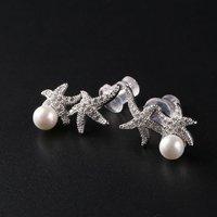 925 Sterling Silber Seestern Form Ohrstecker für Frauen Kristall Züchteten Frischwasserperlen schmuck Zubehör Mädchen Geschenk