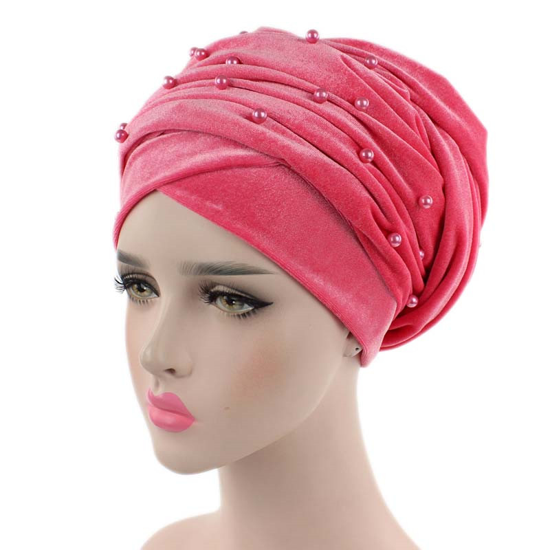 New Luxury Beaded Pearled Velvet Turban Long Head Scarf Headwrap Women Muslim Hijab