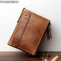 Wholesale Double Zipper Crazy Horse Genuine Leather Men Wallet Vintage Short Coin Purse Credit Card Holder Business Small Wallet