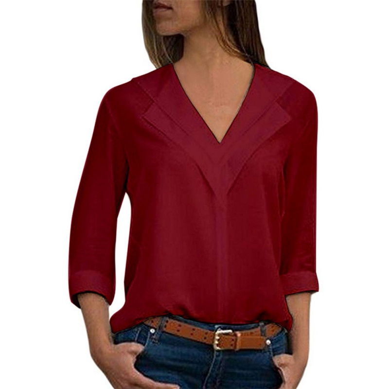 Women Blouses Fashion Chiffon Solid Shirt Female Long Sleeve V neck Shirt Office Ladies Plain Roll Sleeve lady Blouse Top in Blouses amp Shirts from Women 39 s Clothing