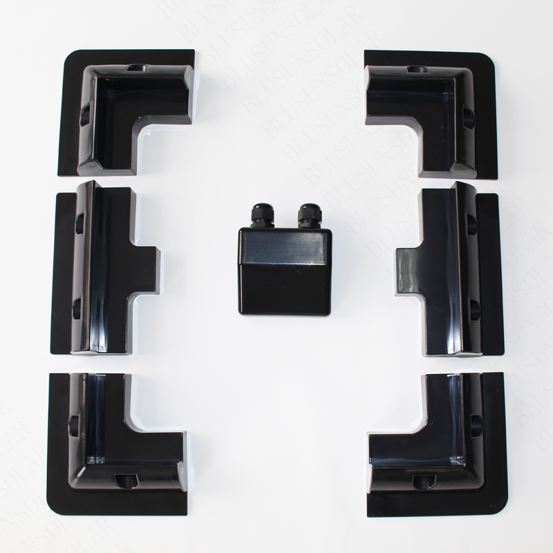 2 Set /Lot Black Color Solar Panel Mounting Bracket Kits Cable Entry Gand Ideal (7 PCS) 2 pcs lot