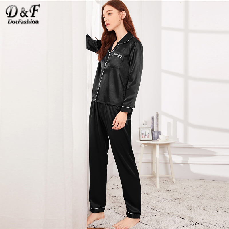 Image 4 - Dotfashion Black Button Letter Embroidered Satin Pajama Set 2019 Casual Pajamas For Women Spring Summer Long Sleeve Nightwear-in Pajama Sets from Underwear & Sleepwears