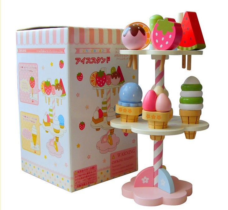 Candice guo wooden toy wood cake block play house kitchen food strawberry ice cream stand assemble game children birthday gift candice guo wooden toy wood shape color block sun moon diy hand work match building pillar game birthday christmas present gift