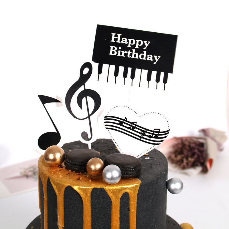 Excellent Cake Dessert Insert Card Music Symbol Decoration Card Cake Personalised Birthday Cards Bromeletsinfo