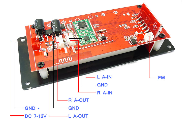 12V DIY Autos Bluetooth MP3 Decoding Board Module LED USB//SD//MMC WAV+Remote Kit