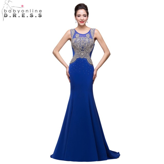 Babyonline Royal Blue Luxurious Beaded Crystal Mermaid Evening Dresses 2017  Sexy Sheer Back Formal Evening Gown 7b06d8eed95e