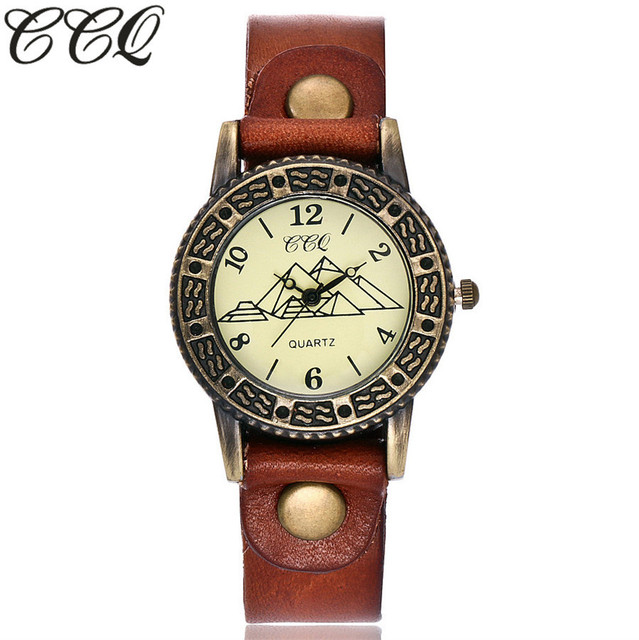 CCQ Brand Fashion Bronze Dial Pyramid Watch Unisex Casual Cow Leather Quartz Wat