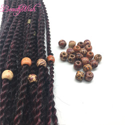 50 unids del grano de dreadlock del pelo de madera Cuentas para trenzar el pelo Big dreadlock grano/Anillo para el trenzado Extensiones de pelo