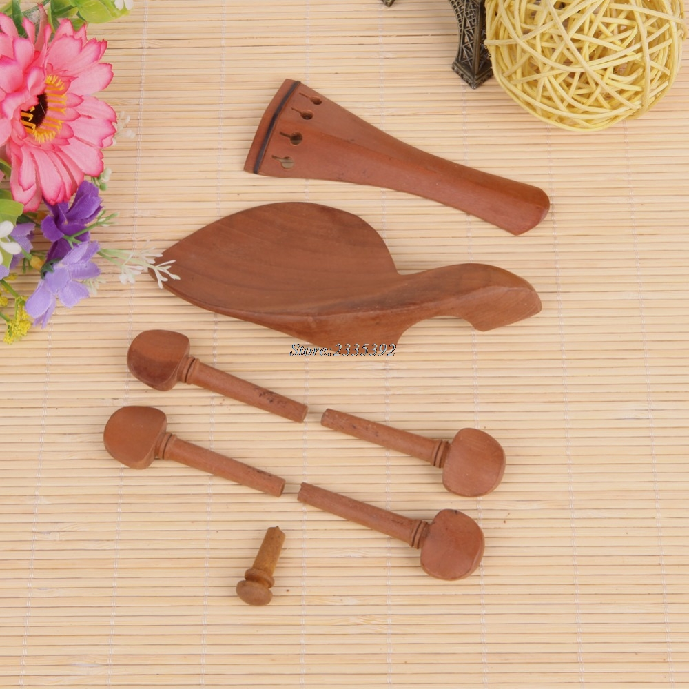 violino Hand Carved Violin Fitting Set:Pegs Tailpiece Chinrest Endpin Violin Accessories