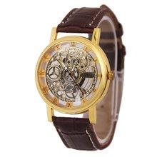 Пары Мода скелет часы Для мужчин гравировка полые часы платье Кварцевые наручные часы кожаный ремешок часы