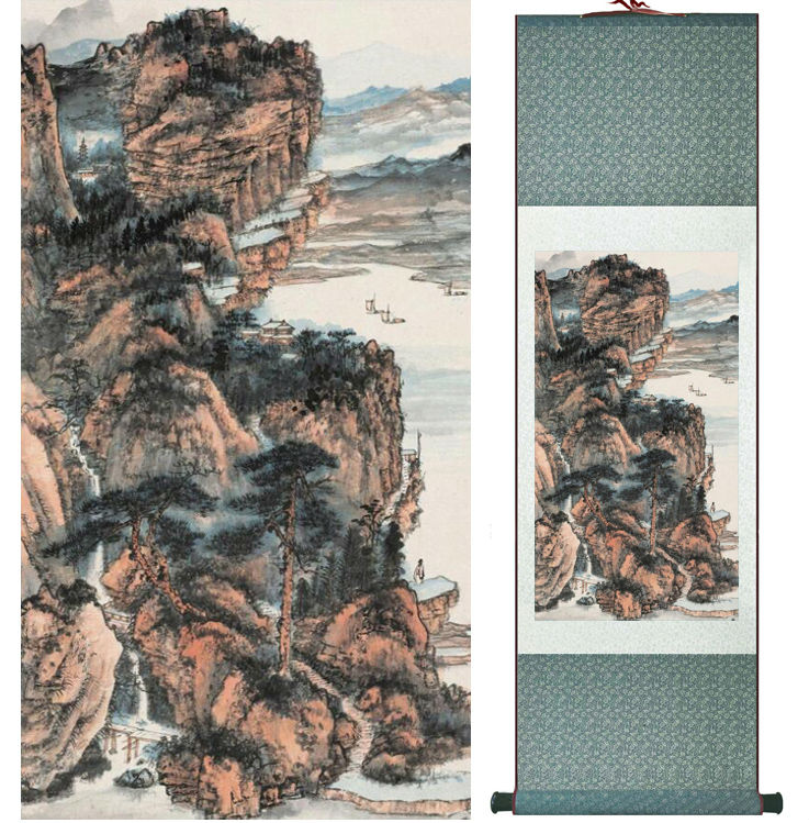 Zhangdaqian Mountain and River painting Chinese scroll painting landscape art painting home decoration painting 0402015