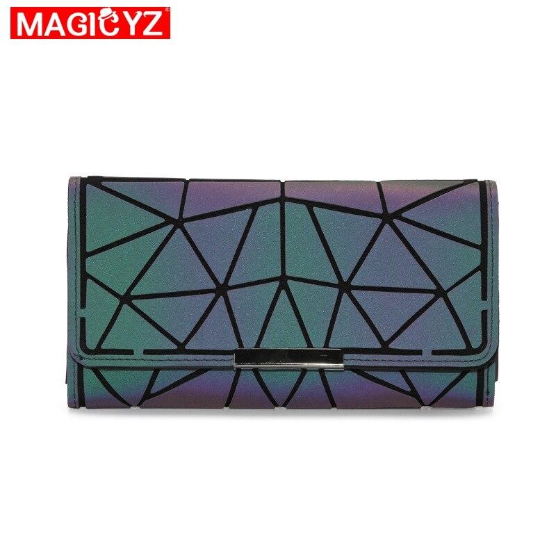 Women's Fashion Luminous Swallet Long Three-layer Coin Purse Bag Bag Evening Geometric Card Wallet