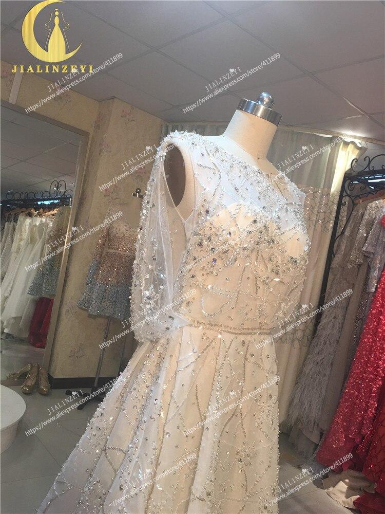 Rhin réel échantillon photos Elie Saab nu à l'intérieur avec des perles de cristal de luxe de mode haut travail robe de mariée robes de mariée - 5