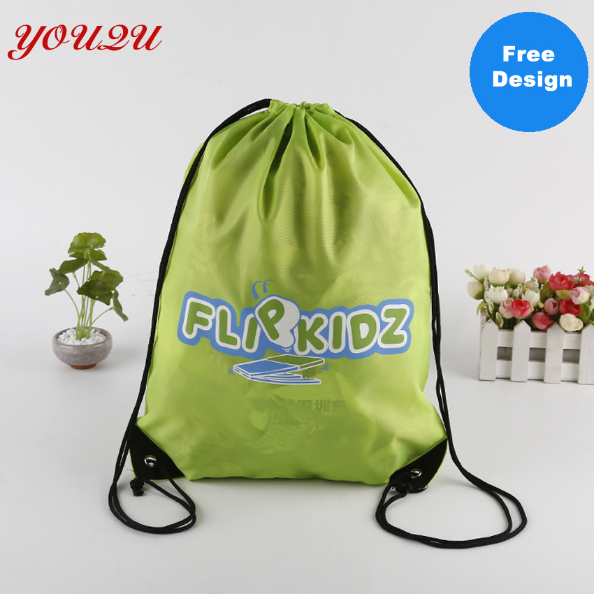 Customize 210D Polyester Drawstring Bag Polyester Laundry Bag Polyester Backpack Bag Own Logo Welcome