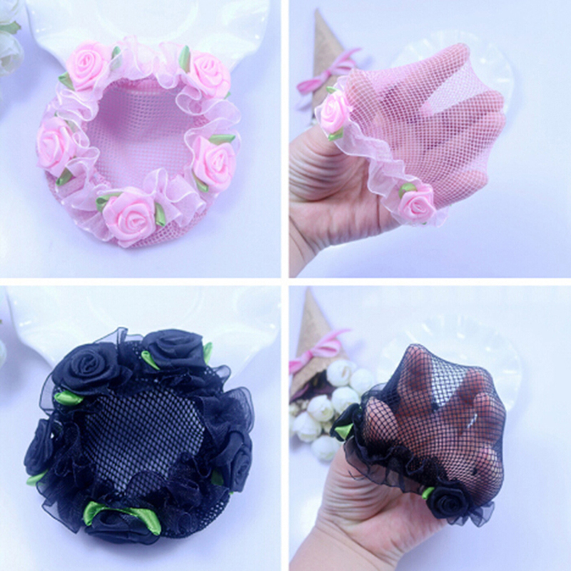 Cute Girls' Flower Lace Reusable Bun Hair Nets For Dancers Kids' Bun Net Cover Hair Accessories Ballet Dancewear
