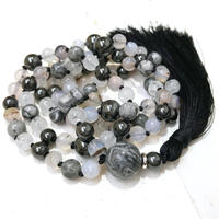 Mixed Quartz Agate And Jasper Beads Necklace Knot Stone Beads Neacklce Handmade Black Silk Tassel Necklace