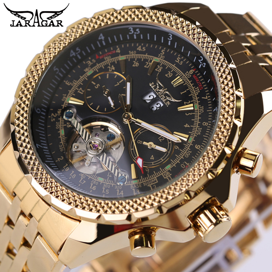 JARAGAR Brand Top Mens Watches Relogio masculinos Luxury Gold Watch Automatic Mechanical Stainless Steel Men Tourbillon