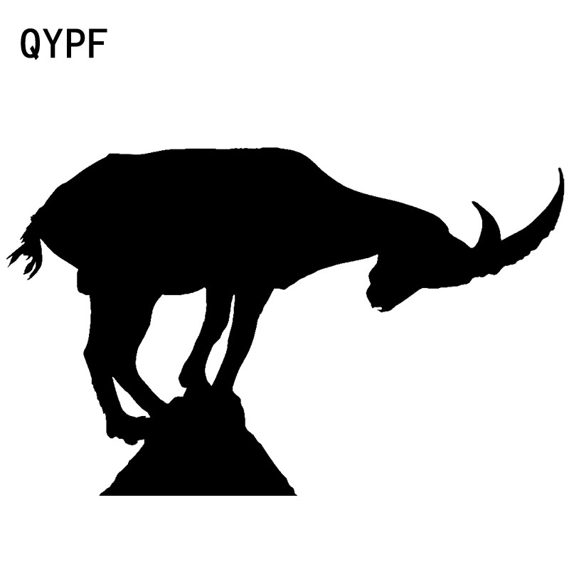 QYPF 20cm*12.4cm Goat Looks Down At The Foot Of Mountain Vinyl Car Sticker Friendly Window Decal C18-0290