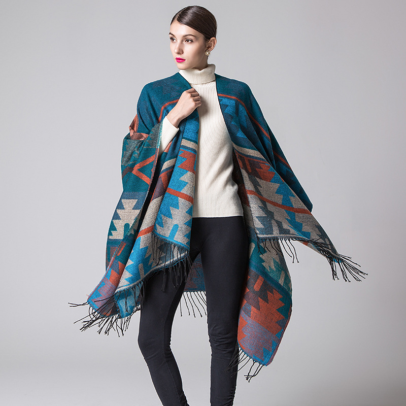 Ethnicstyle Geometric Shape Long Thickening Imitation Cashmere Split Shawl Cloak Infinity Scarf Designer Scarf Women Luxury 2019