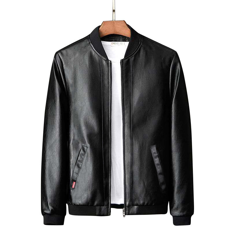 Spring And Autumn Leather Garment Men's Fashionable Slim Coat With Vertical Collar Pilot Jacket Leather Jacket
