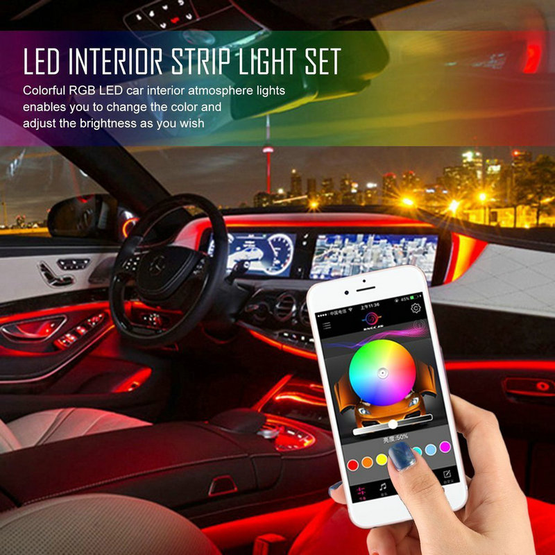 Car Styling Sound Active RGB LED Car Interior Neon Strip Light Bluetooth Wireless Phone APP Control Floor Atmosphere Lamp Decor