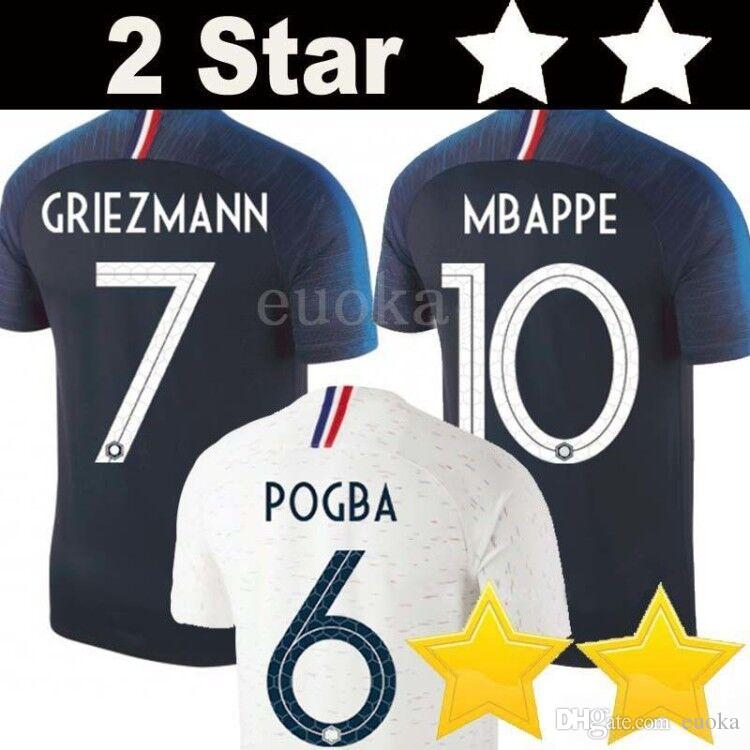 8bc96512d10 Aliexpress.com : Buy New 2018 France World Cup SHIRTs POGBA GRIEZMANN 2 star  KANTE Mbappe Football t shirts 18 19 France National Team home away Soc  from ...