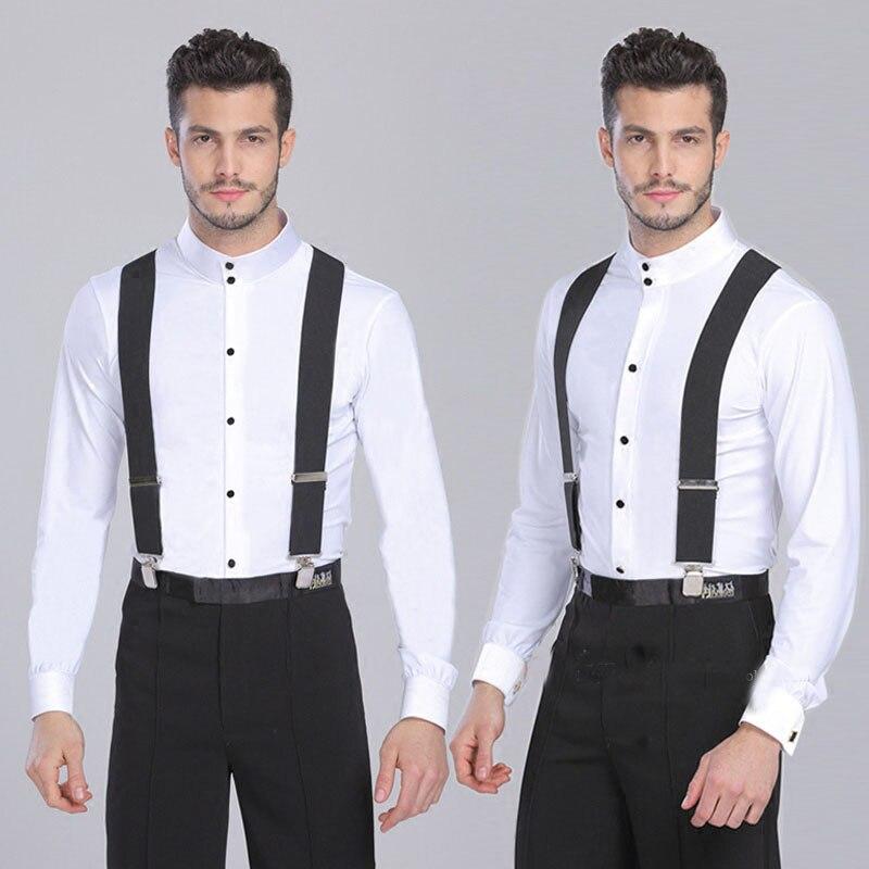 Black/white/red/blue corss 4 Clip Suspenders for Women Mens Braces Trousers 2018 Elastic Belts Straps Braces suspensorio 120cm