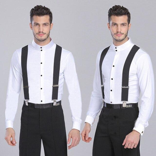 e2c317609 Black white red blue corss 4 Clip Suspenders for Women Mens Braces Trousers  2018 Elastic Belts Straps Braces suspensorio 120cm