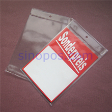 Vinyle Tag Pouch 108x160mm,  PVC tags holder sign ticket sleeves plastic bag envelope, cards cover sheet protector pocket hanger