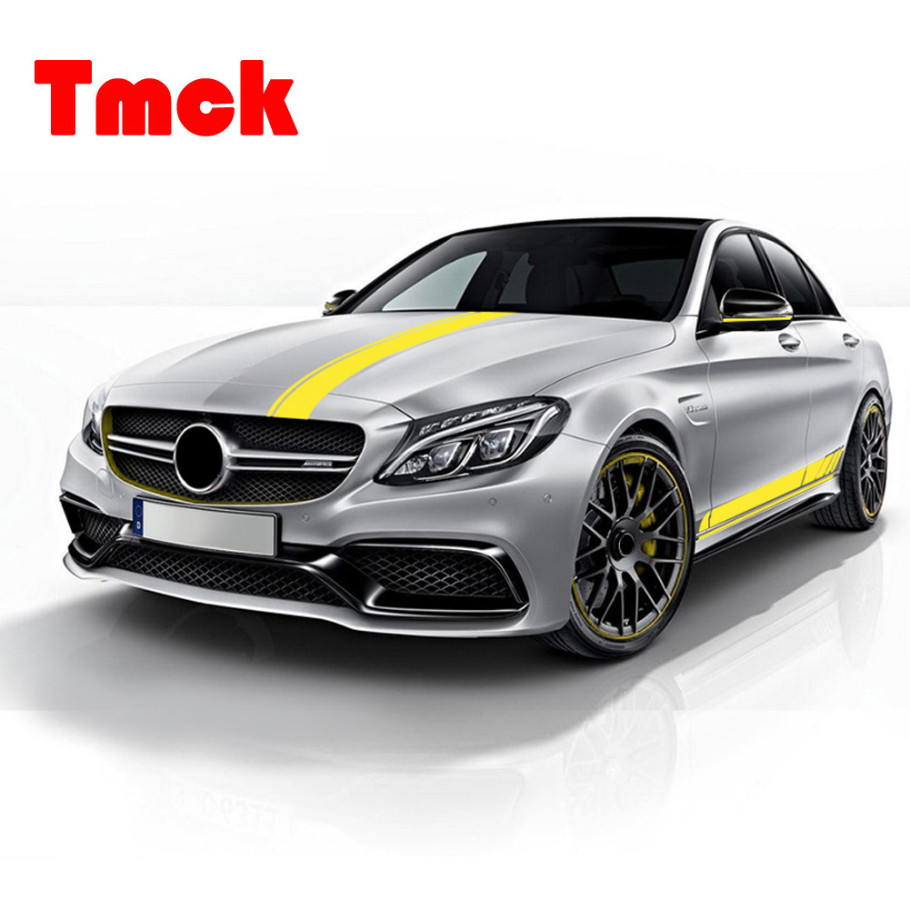 For Mercedes Benz C Class W205 E Class W213 C63 AMG 2016-2019 Car Long Stripe Decoration Decal Sticker Side Body Sports Graphic image