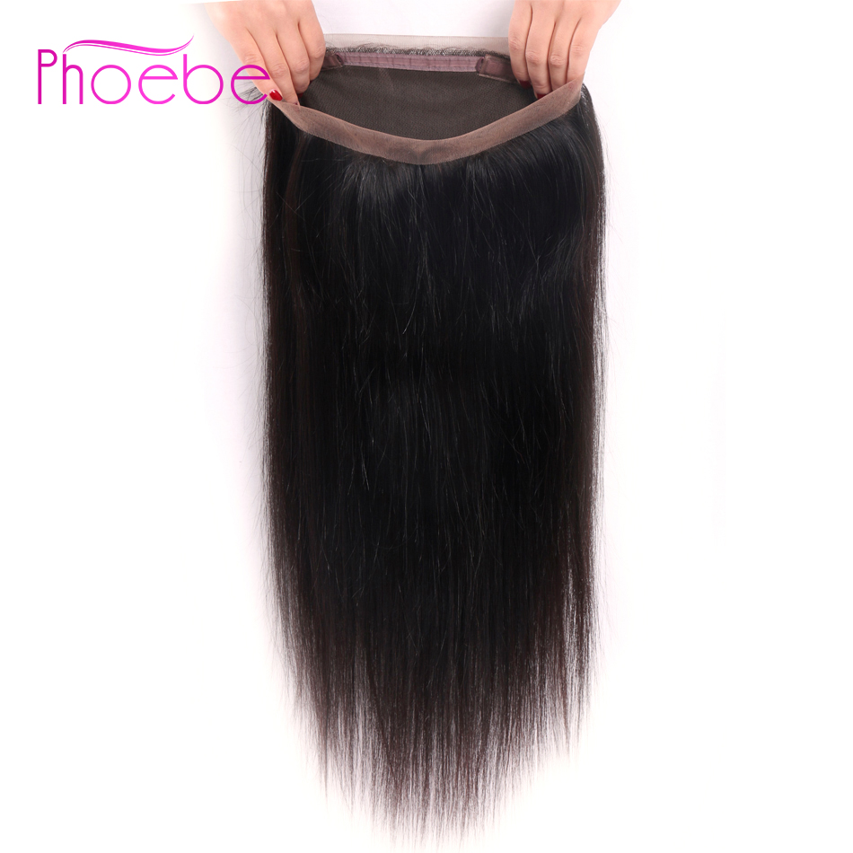 Phoebe Indian Straight Hair 360 Lace Frontal Closure With Baby Hair Natural Color 8-22inch Remy Human Hair Free Part Closure 360