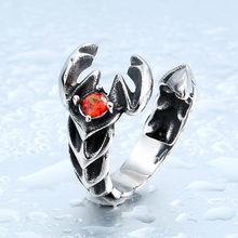 BEIER For Man Woman Stainless Steel Retro Vintage Cool Punk Scorpions Ring With Red Stone Animal Jewerly BR8-289(China)