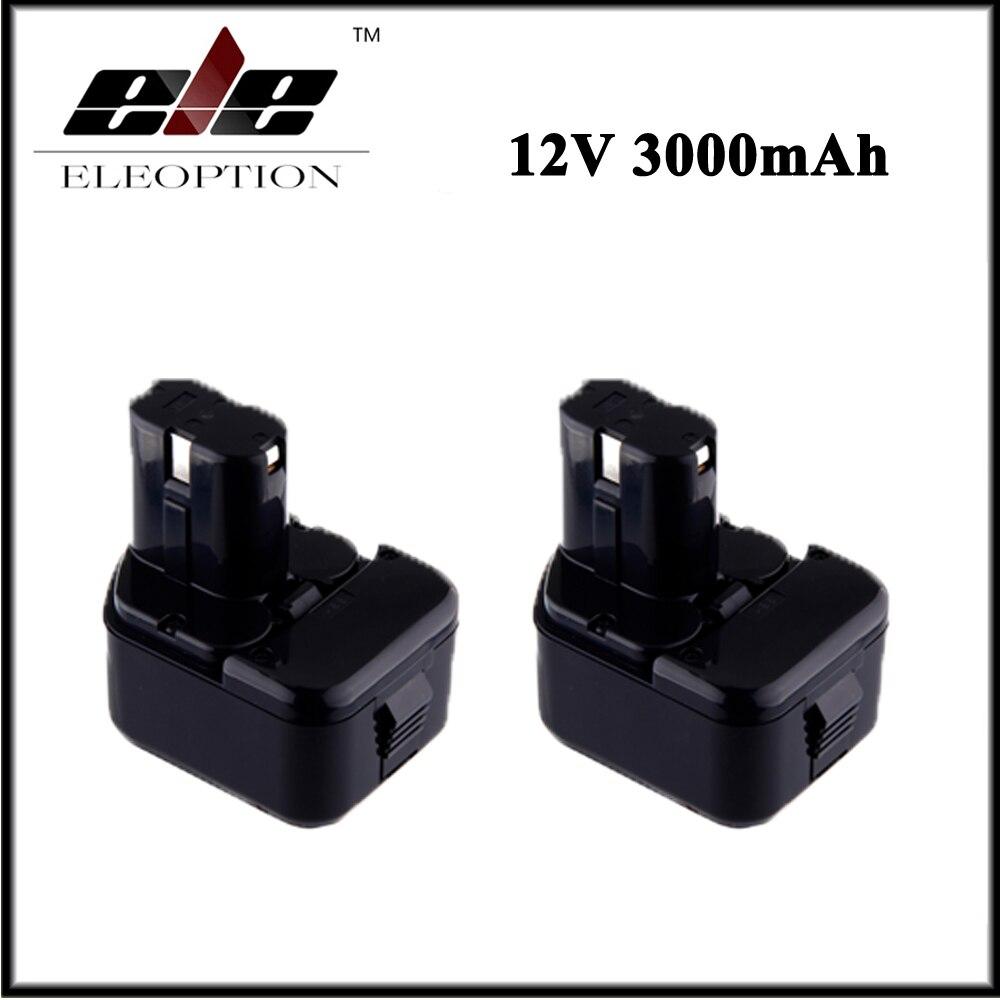 2x Eleoption 12V 3000mAh Ni-MH Replacement Power Tool Battery for Hitachi EB1212S EB1214L EB1214S DS 10DTA WH 12DAF аккумулятор для hitachi bcc1215 eb1214l eb1214s eb1220bl eb1224 2000mah cameronsino
