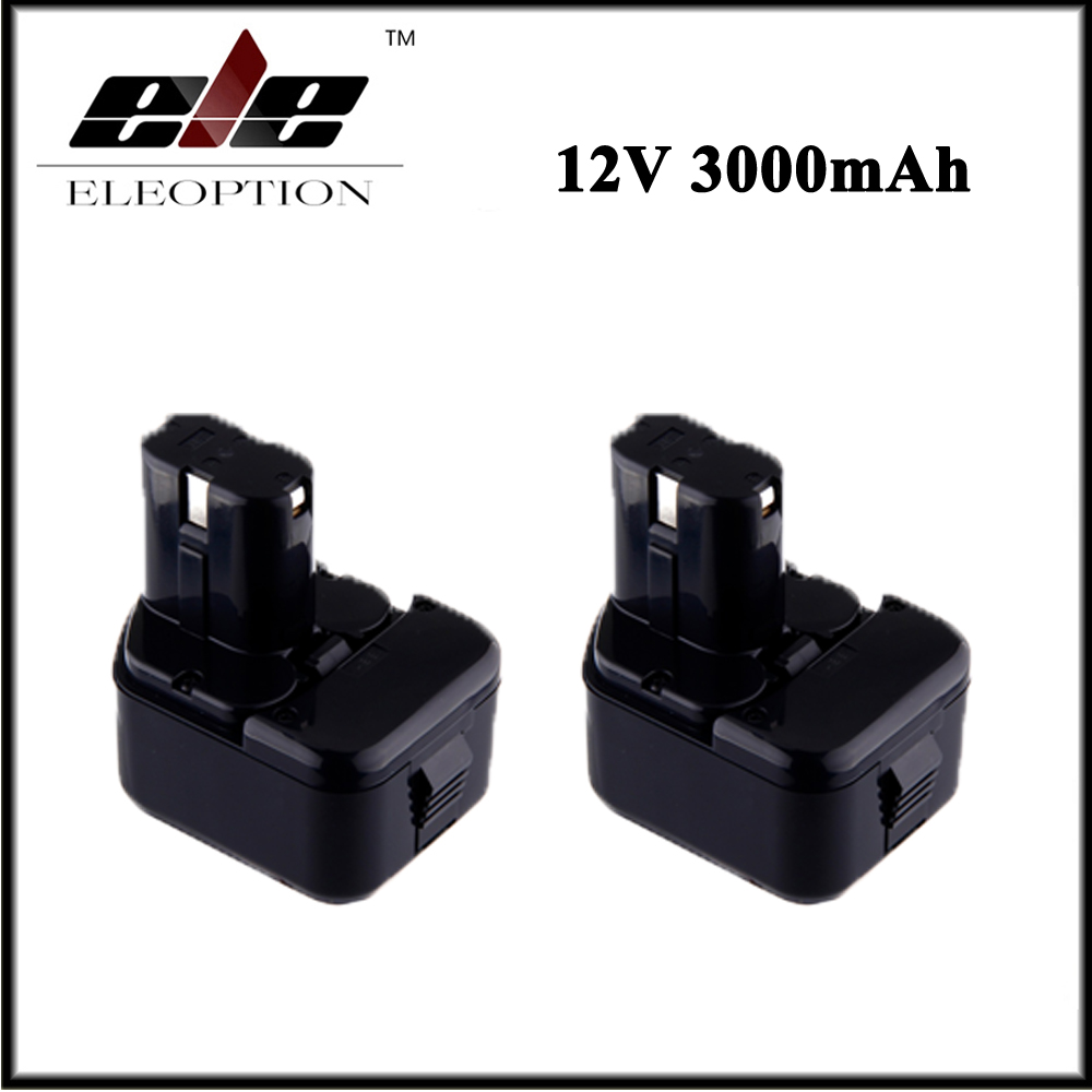 2x Eleoption 12V 3000mAh Ni-MH Replacement Power Tool Battery for Hitachi EB1212S EB1214L EB1214S DS 10DTA WH 12DAF