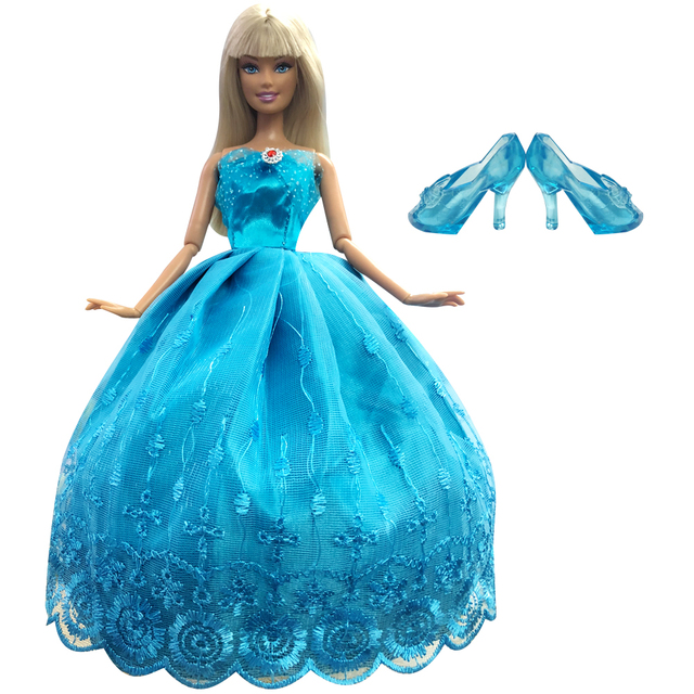 NK Imitation Fairy Tale Princess Cinderella Wedding Dress+Crystal Shoes For Barbie  Doll Best Girls Gift Baby Toys ceecb369d8ca