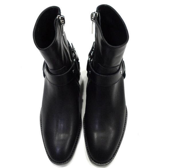 2019 ventas calientes FR. botas de cuero de vaca de cuero genuino de lancelote para hombre con cremallera superior a la moda estilo británico botas Chelsea para hombre-in Botinas from zapatos    2