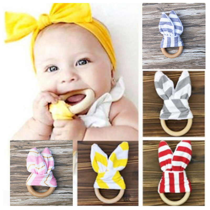 Wood Ring Baby Teether Molars Useful Healthy Training Baby Teething Hand Rattles Baby Items For 5 Colors