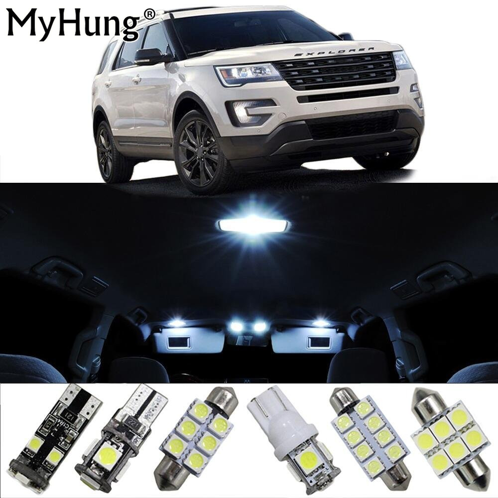 Car Led Light For Ford Explorer Fiesta Interior Replacement Bulbs Dome Map Lamp Light Bright White T10 42mm 5PCS 194 168 5050 w5w t10 5 smd white led light bulbs replacement for interior dome map dashboard lights lamp exterior license