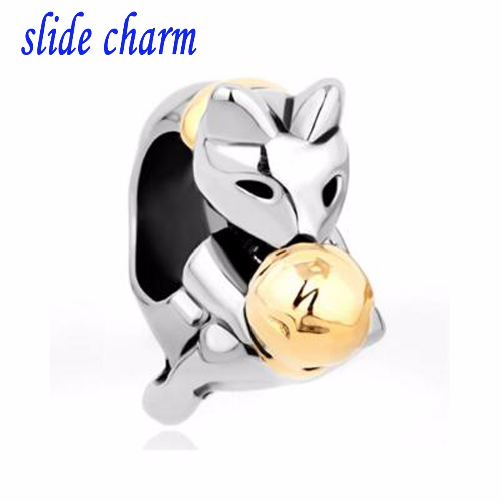 slide charm Free shipping Childrens birthday gifts gilded balls and fox charm beads fit Pandora charm bracelets