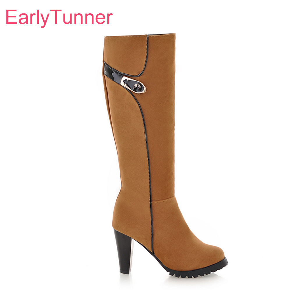 Brand New Winter Army Green Red Women Dress Knee High Boots Comfortable Lady Riding Shoes Spike Heel EA18 Plus Big size 43 10