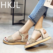HKJL 2019 New summer wedges with sequin open toe sandals platform height for women casual and comfortable shoes A300
