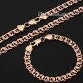 18-36inch Elegant Womens Mens Chain Cut Snail Rose Gold Filled Set Necklace Bracelet  Jewelry Set Wholesale Gift DLGS63