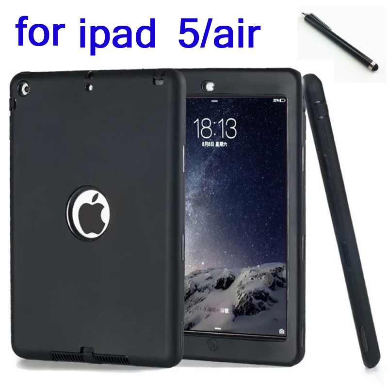 HOT! high quality 3in1 Heavy armor fashion Shockproof Silicone Cover Case For ipad 5 ipad air ipad air1 Tablet child case
