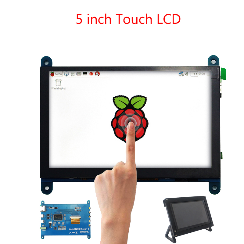 5 Inch Raspberry Pi 4 Touch Screen 800x480 Capacitive LCD Display + Holder  For PC Lapto For Raspberry Pi 4B/3B+/3Bp Free Drive