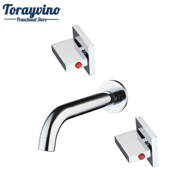 Torayvino Hot/Cold Bath Wall Mounted 3 Pcs Torneira Brass Bathtub Sink Bathroom Faucet Double Handles Mixer Tap Faucet wall mounted stain black bathtub faucet double handle antique brass mixer tap bath