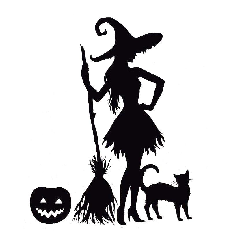 15.7cm*20cm Funny Pumpkin Witch Broom Black Cat Magic Monster Vinyl Car Sticker Decals Black/Silver S6-3966 12 11cm funny sexy witch lady gir sexy witch lady car stickers car sticker decals black silver blue yellow ct 585