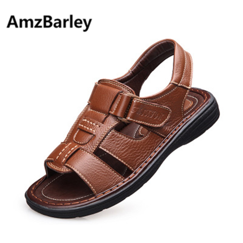 AmzBarley Men Sandals Shoes Footwear Leather Flats Rubber Shoe Slipper Classics Breathable Outdoor Walking Beach Summer Fashion boys girls antislip usb sandals summer cut out comfortable flats beach sandals kids children breathable led shoes with light