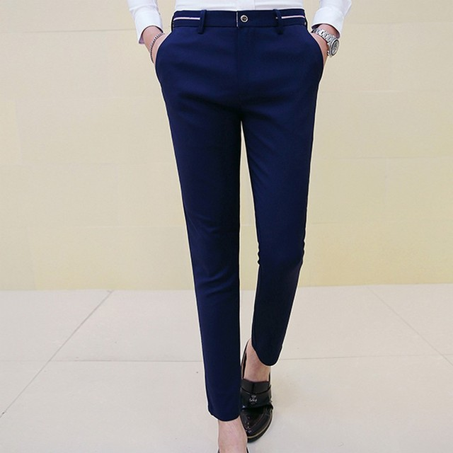 Ankle Length Trousers Skinny Dress Pants Male Fashion Elastic Casual
